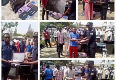 Polisi y'u Rwanda yasubije ubikoresho bitandukanye benebyo bari babyibwe