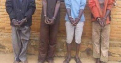 Kayonza: Abagabo bane bafunzwe na Polisi y'u Rwanda bakekwaho ubujura bw'inka